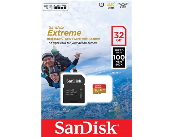 SanDisk Extreme microSDHC 32GB + Adapt.SD para Action Sports Cameras - works with GoPro - 100MB/s A1 C10 V30 UHS-I U3