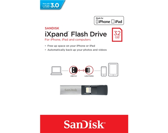 SanDisk iXpand Flash Drive 32GB - USB for iPhone (lightning connector)